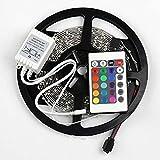 TonLong RGB Multi-Color 16.4FT/5M SMD 3528 LED Flexible Light Strip Tape Non-Waterproof 300 LED Strip Lighting Kit 12V+24keys Remote Controller