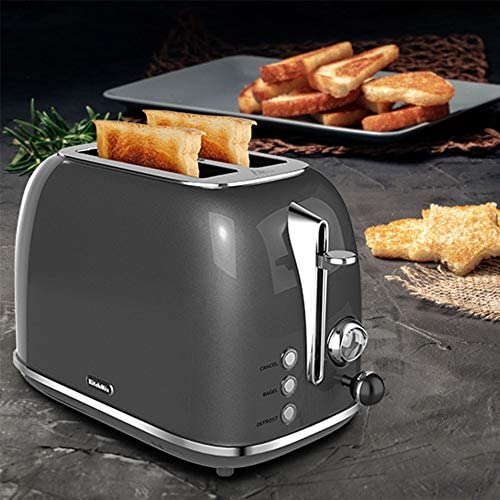 2 Slice Toaster, KitchMix Retro Stainless Steel Bread Toasters with 6 Settings, 1.5 In Extra Wide Slots, Bagel/Defrost/Cancel Function, Removable Crumb (Gray)