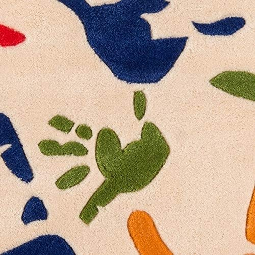 (Momeni Rugs  Lil' Mo Whimsy Collection, Kids Themed Hand Carved & Tufted Area Rug, 3' x 5', Multicolor Handprints on Ivory)