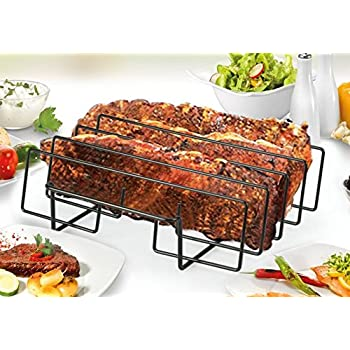 Artestia 14-inch Extra Wide BBQ Grill Non-Stick Rib Rack, fits spare rib / back rib from costco / whole foods perfectly