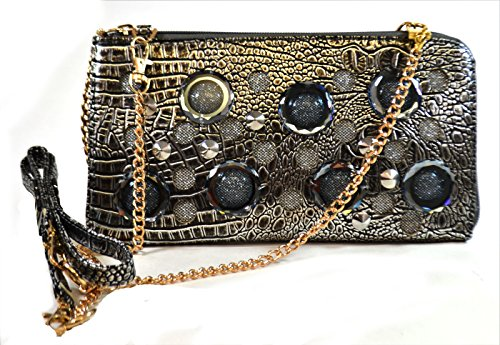 Authentic Arcadia Handmade Metallic Evening Bag Circle Bronze Tone Clear Gem with Studs and 3 Option Adjustable Chain Shoulder Straps: ZH3013-PR