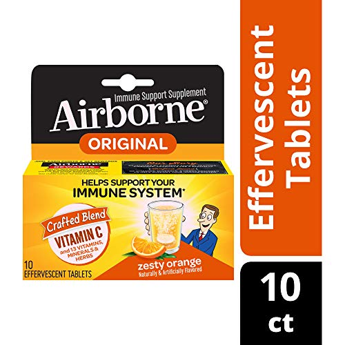 (Vitamin C 1000mg - Airborne Zesty Orange Effervescent Tablets (10 count in a box), Gluten-Free Immune Support Supplement and High in Antioxidants, Packaging May Vary)