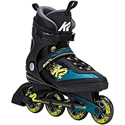 K2 Skate Men's Kinetic 80 Inline Skate, Black Green Yellow, 11
