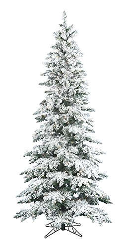 7.5' Pre-Lit Snow Flocked Layered Utica Slim Christmas Tree ...