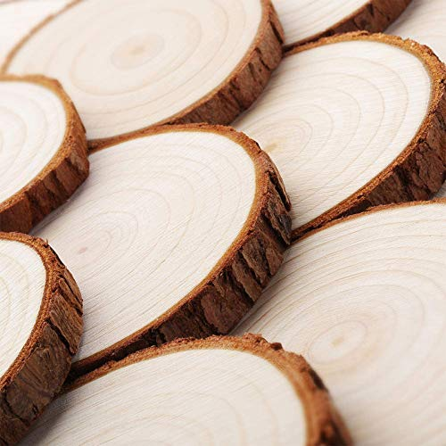 VGOODALL Wood Slices, 36 Pcs 7-8 cm Natural Unfinished Wooden Circles Wooden Rounds for Art Creation DIY Crafts Wedding Decorations Christmas Ornaments