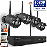 [Expandable System]Wireless Security Camera System,SMONET 8CH 1080P IP Camera Security System with 2TB Hard Drive,4pcs 2MP Indoor/Outdoor Wireless IP Cameras,P2P,65ft Night Vision,Easy Remote View