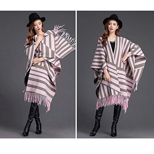 A Sciarpa Scozzese Autunno Cappotto Poncho Scialle Fashion Uso Doppio Cloak Mantella Khaki Strisce Cardigan Primavera Tassel txItq8R