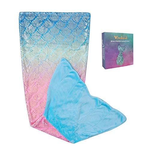 Mermaid Tail Blanket for Kids Teens Girls Rainbow Glittering Mermaid Blanket All Seasons Super Comfty Flannel Fleece Mermaid Sleeping Bag Best Gifts for Girls (19'×51')