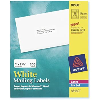 avery 18160 easy peel address labels 1 x 2 58 white 300 labelspack
