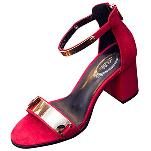 Azbro Mujer Sandalias de Tacón Bloque Cremallera Trasera Correa Tobillo Puntera Abierta Rojo