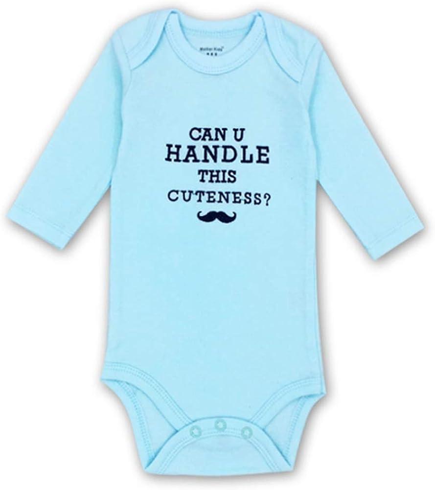 Monvecle Unisex-Baby 2 Pack Coverall Cotton Lap Shoulder Long Sleeve Onesies Bodysuit