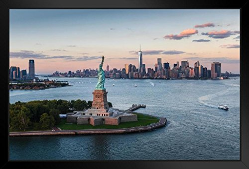Liberty Tower - Statue of Liberty at Sunset New York City NYC Photo Art Print Framed Poster by ProFrames 20x14 inch