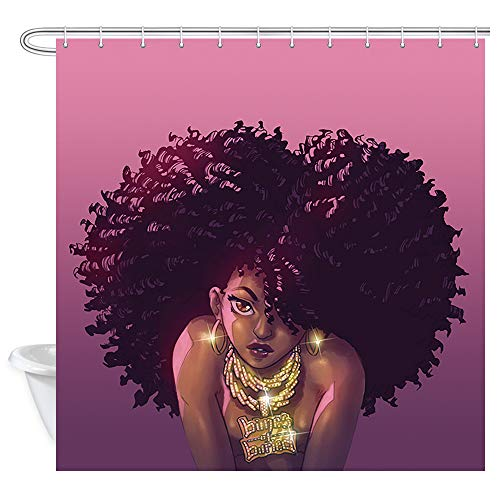 NYMB African American Shower Curtains, African Lady with Afro Hair Dreadlocks Hairstyle Art Print, Afro Shower Curtain Bathroom Set, Waterproof Fabric Shower Accessories, 69X70'' Red and Golden ()
