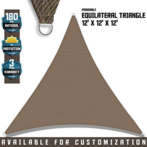 TANG Sunshades Depot 12 x12 x12 Sun Shade Sail 180 GSM Equilateral Triangle Permeable Canopy Brown Coffee Custom Commercial Standard