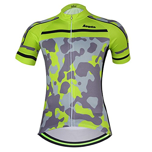 2017 Wosaw Women's Cycling Jersey Cool and comfortable Cycle Racing Clothing Wear Short Sleeve Skinsuits Shirt Green Camo D409 (Shirt 2, - Skinsuit Sleeve Short