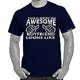 Starlite~Mens Funny tshirts-Awesome Boyfriend Looks Like tshirt-NVY-WHI-M