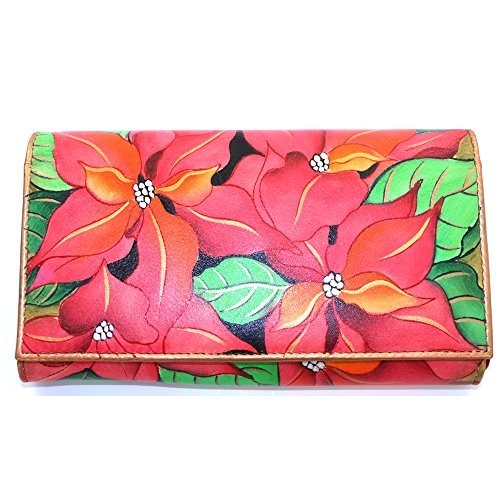 **preorder October 2014** Anuschka Genuine Leather Hand Painted Clutch Wallet Holiday Gift Box (pretty Poinsettia) 1043