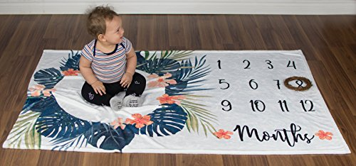 Premium Minky Fleece Monthly Baby Milestone Photo Prop Blanket| Thick Wrinkle & Fade Resistant|Best Baby Shower Gift. Perfect Way to Take Trendy Floral Infant & Newborn Photographs| 60'' X 40'' by Totminds (Image #8)