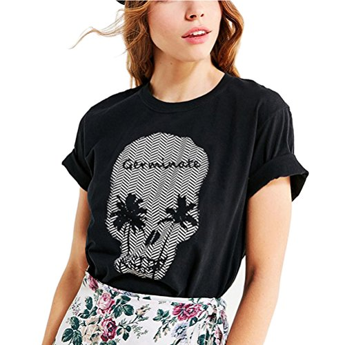 c882011b970 Germinate Huang Summer T Shirt Women Black Vintage Skull Graphics Funny Tee  Tops Plus Size (