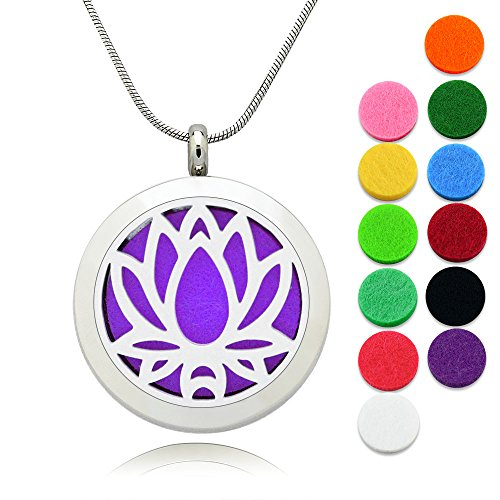 Lademayh Essential Oil Necklace Diffuser Lotus Pendant Locket Aromatherapy Diffuser Jewelry, Perfume Necklace with 2 pcs Chains & 12 Pads 0020 Oil