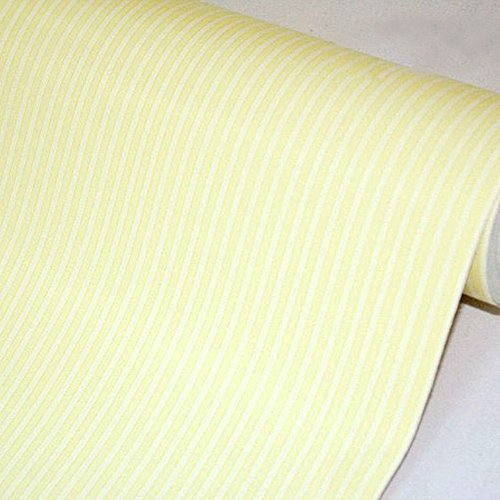 SimpleLife4U Yellow White Stripes Shelf Liner Drawer Units Decor Sticker Self-Adhesive Contact Paper 17.7 Inch By 9.8 (White Stripe Striped Wallpaper)