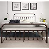 Metal Bed Frame Queen The Simple-Style Iron-Art Double Bed Has The Metal Structure,Metal Tube and Antique Brown Baking Paint. Firm and Durability,Without Noise.Suitable for Bedroom and in the Hotel …