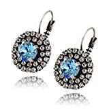 Nara Round Crystal Earrings, Silver Plated French Leverback Drop with 3 Layers of Circles