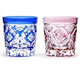 Japanese Paired Rocks Glass of Edo-Kiriko (Cut Glass) Shippo Flower Pattern