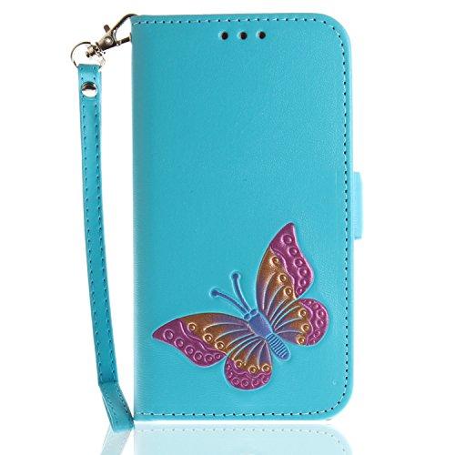 Huawei Honor 9 Hülle,Huawei Honor 9 Schutzhülle PU Leder,Huawei Honor 9 Wallet Tasche Brieftasche Schutzhülle,Hpory Elegante Vintage Schmetterling Muster PU Leder Wallet Tasche Flip Cover Ledertasche  Schmetterling,himmelblau