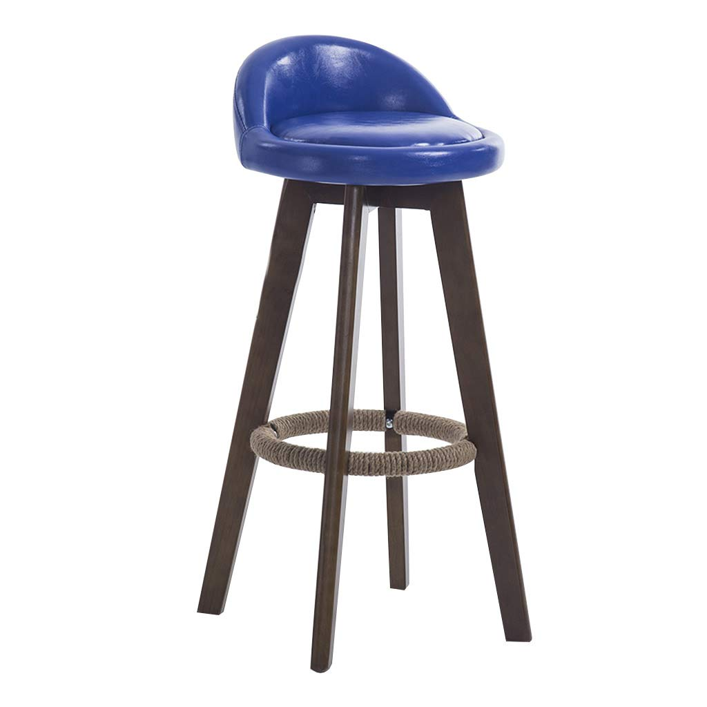 bluee 73cm XLZ Bar Stool, 360° redation Bar Chair, Leather Chair Wooden Footstool, Non Slip Home Kitchen Breakfast Counter High Bench, 4 colors 63cm 73cm 83cm,Breakfast Stool,Counter Chair