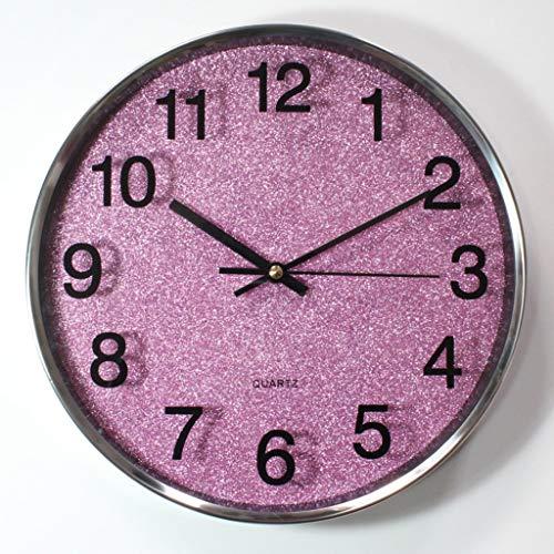 - YHEGV Stainless Steel Ring Mute Alarm Clocks Wall Clocks Clocks & Lounge of Single-Mode (Color: Violet).