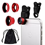 Universal 3 in1 Camera Lens Kit for Smart phones includes One Fish Eye Lens / One 2 in 1 Macro Lens and Wide Angle Lens / One Universal Clip / One Microfiber Carrying Bag / with Camkix® Retail Packaging - Compatible with iPhone, Samsung Galaxy, HTC, Motorola, Tablets, iPad, and Laptops (Red)