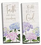 Roaring Brook Lovely Hydrangea Be Still & Know I Am God and Faith Can Move Mountains Panel Set; Religious Decor ; Two 12x36in Hand-Stretched Canvases