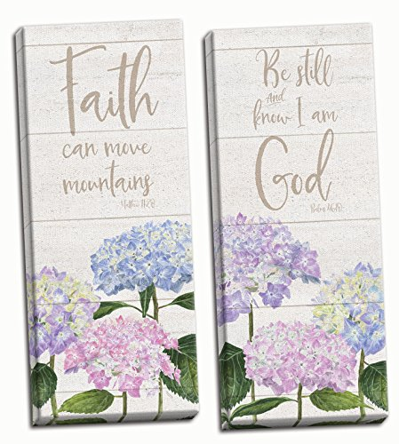Roaring Brook Lovely Hydrangea Be Still & Know I Am God and Faith Can Move Mountains Panel Set; Religious Decor ; Two 12x36in Hand-Stretched Canvases by Roaring Brook