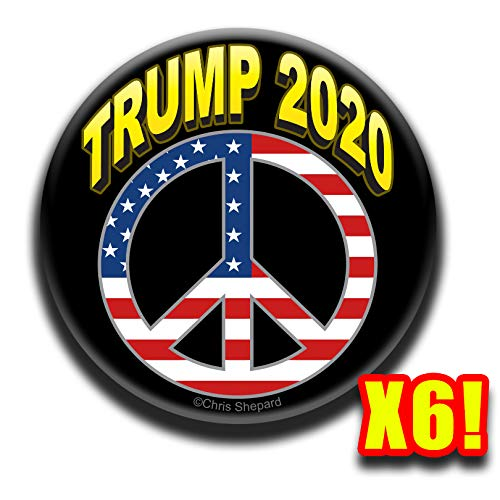 (TRUMP 2020 PEACE SIGN AMERICAN FLAG SYMBOL 6-BUTTON RALLY PACK! Big 2.25 Inch Pinbacks! Badges!)