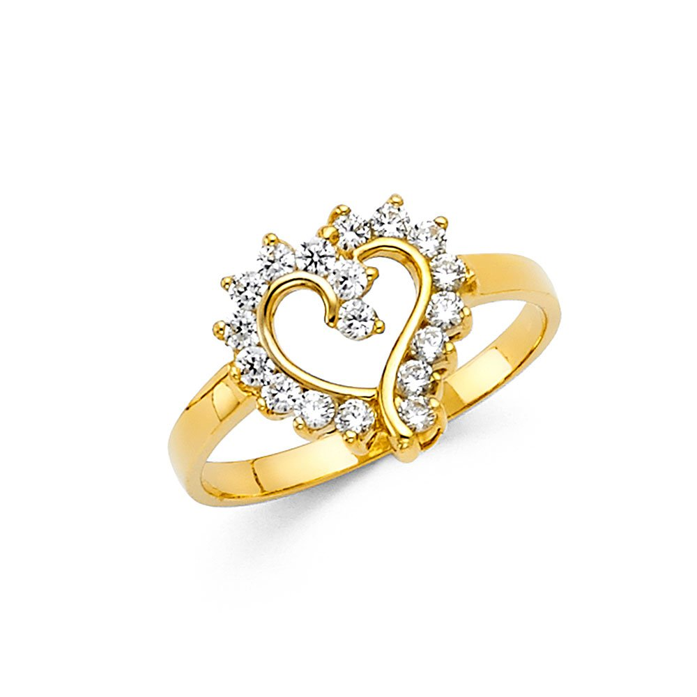 CZ Heart Ring Solid 14k Yellow Gold Band Love Promise Ring Right Hand Curve Stylish Polished, Size 8.5