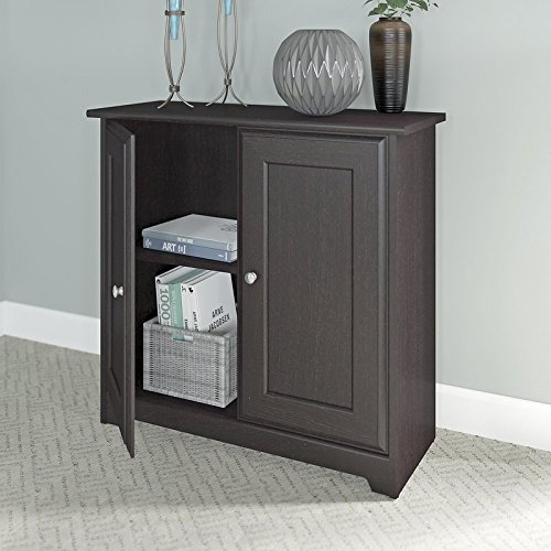 2 Door Storage Cabinets Durable Construction Closed Storage with One Adjjustable Shelf Rich Espresso Oak Finish Wood Material Office Furniture by AVA Furniture