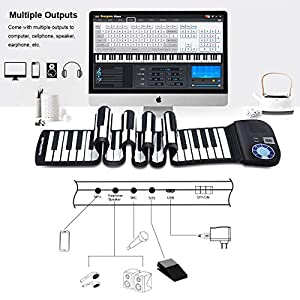 HONEY JOY Roll Up Piano, Upgraded Electronic Piano Keyboard, Portable Piano w/Bluetooth, MP3 Headphone USB Input, MIDI OUT, 128 Rhythms& Tunes, Record, Play, Volume & Rate Control, Foot Pedal from HONEY JOY