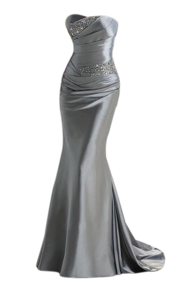 Snowskite Womens Elegant Mermaid Sweetheart Evening Party Bridesmaid Dress Silver 6