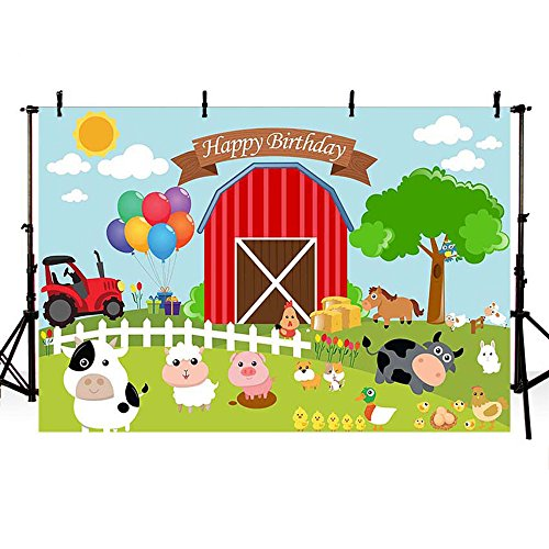 MEHOFOTO Cartoon Farm Theme Happy Birthday Banner Photo Background Children Party Decoration Backdrops for Photography 8ftx6ft