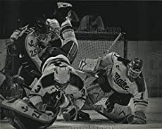 Vintage Photos 1993 Press Photo A logjam Among Maine & Lake Superior Hockey Players During Game