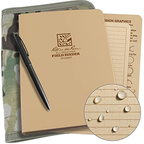 (Rite in the Rain Weatherproof Binder Kit: Multicam Cordura Cover, Tan Binder, 50 Sheets Tan Universal Loose Leaf, Weatherproof Pen (No. 9200M-KIT))