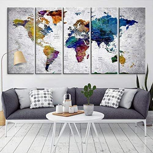 Amazon Com Modern Large Dark Blue Wall Art World Map On Gray Backgorund Canvas Print For Home Decor Wall Art Canvas Print For Office And Living Room Decoration Ready To Hang