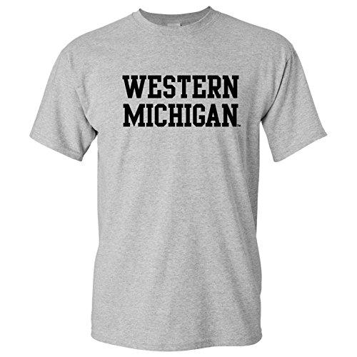 AS01 - Western Michigan Broncos Basic Block T-Shirt - Large - Sport Grey (Western Warehouse)
