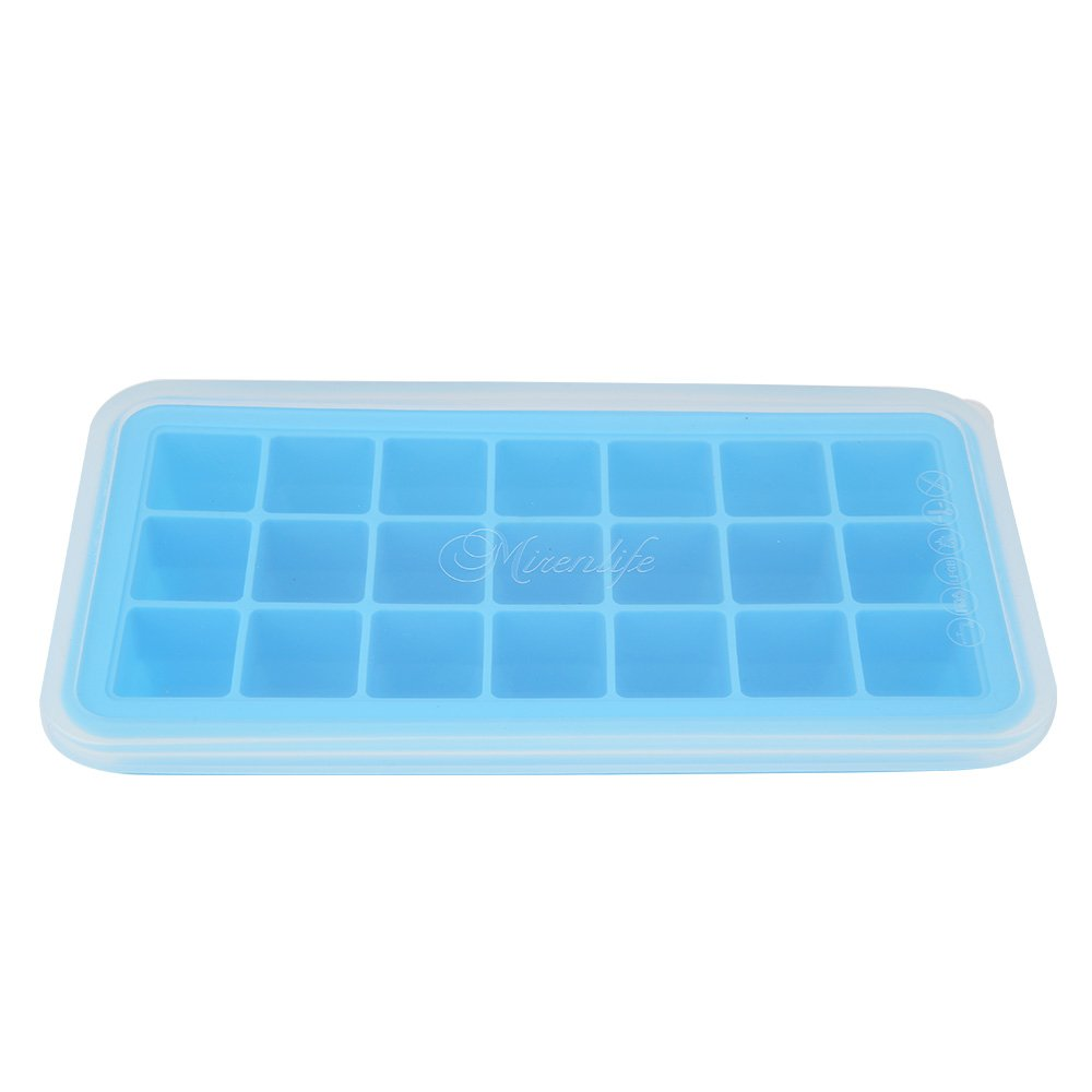 Mirenlife Food Grade Silicone Ice Cube Tray with Lid, FDA Certified Silicone Ice Cube Tray, Pinch Test Passed, 21 Cubes, Blue