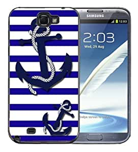 Samsung Galaxy Note 2 Black Rubber Silicone Case - Nautical Stripes Blue White with Anchors and rope Cute