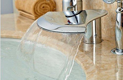 GOWE Polished Chrome Brass Bathroom Tub Faucet 3 PCS Vessel Sink Mixer Tap W/ Hand Shower 2