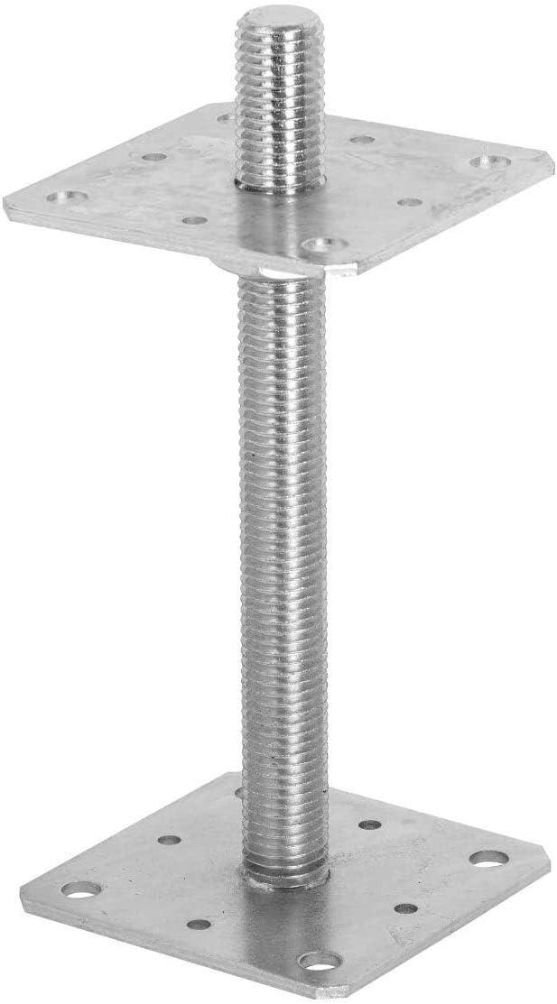 80x80 ADGO Soporte de Anclaje para Poste para Atornillar en Plata Galvanizada Ajustable en Altura