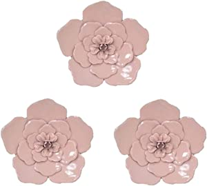 8 Inch Large Metal Flower Wall Art Multiple Layer Home Decor for Outdoor Home Garden Porch Patio Set of 3 (Pink)