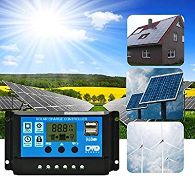 10A/20A/30A Dual USB Solar Panel Battery Regulator Charge Controller 12V/24V